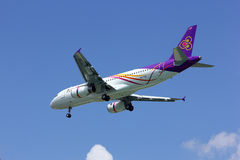 Airbus A320-200 of Thaismile airline. HS-TXD landing to chiangmai airport, from phuket Stock Images