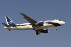 Airbus A320-212. Airbus A320 Nouvelair before landing at Prague royalty free stock photography