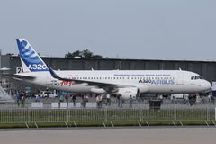 Airbus A320 with sharklets. BERLIN - SEP 11: Airbus A320 with sharklets shown at ILA Berlin Air Show 2012 on September 11, 2012, Berlin, Germany Stock Photo