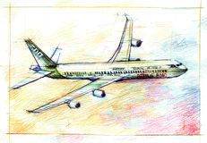 Airbus A340 plane illustration drawing Royalty Free Stock Image
