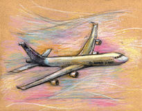 Airbus A340 plane illustration drawing. Airbus A340 plan illustration drawn in color pencil flying through the sky Royalty Free Stock Image
