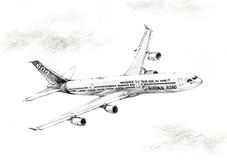 Airbus A340 plane illustration drawing. Airbus A340 plan illustration drawn in color pencil flying through the sky Stock Image