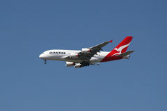 Airbus A380. A Qantas A380 on final approach to land Stock Image