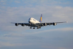 Airbus A380. From Lufthansa approaching Copenhagen Airport for the first time Royalty Free Stock Photo