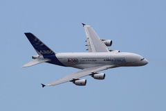 Airbus A380. PARIS - JUN 23: Airbus A380 (largest passenger airliner in the world) on 49th Paris Air Show on June 23, 2011 in Paris, France Royalty Free Stock Photo