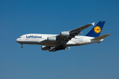 Airbus A380. BUDAPEST - OCTOBER 02: Lufthansa Airbus A380 airliner on final approach on October 02, 2011 in Budapest. The A380 is currently the largest passenger Stock Photos