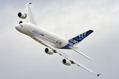 Airbus A380 Fotografie Stock