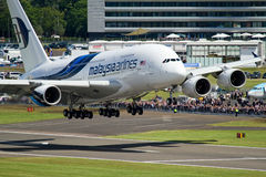 Airbus A380. Malaysia Airlines Airbus A380 super-jumbo at Farnborough airshow 2012 Stock Photo