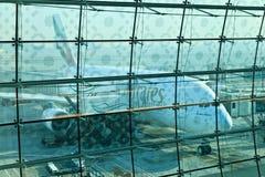 Airbus a380. DUBAI, UNITED ARAB EMIRATES - NOVEMBER 10: Emirates Airlines Airbus A380 docked at Dubai Airport on November 10, 2012 in Dubai, UAE. Emirates was Stock Photo