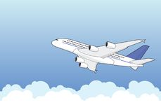 Airbus A380. An Airbus A380 climbing through clouds. Illustration, vector Royalty Free Stock Photos