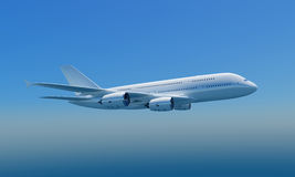 Airbus A380 with clipping path. 3D rendering of Airbus A380 flying in blue sky, isolated, clipping path included Stock Image
