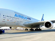 Airbus A380 on Display. DUBAI, UAE - NOVEMBER 19: Airbus A380 aircraft on display during Dubai Air Show 2009 at Airport Expo Dubai November 19, 2009 in Dubai Stock Images