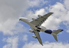 Airbus A380 flying Stock Photo