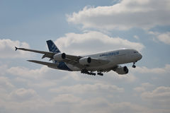 Airbus A380 flying Stock Images