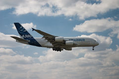 Airbus A380 flying side Stock Photos
