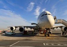 Airbus a380 no aeroporto de Dubai Foto de Stock Royalty Free