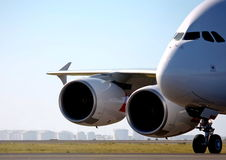 Airbus A380 on the runway. Close up view of an Airbus A380 on the runway Stock Photography