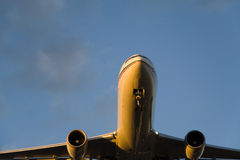 Airbus from Above. Closeup of the underside of a landing Airbus 310 royalty free stock photography