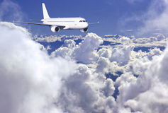Airbus above clouds stock photos