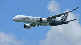 Airbus A350-900 on aerial display at Singapore Airshow Stock Images
