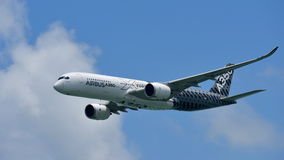 Airbus A350-900 on aerial display at Singapore Airshow Stock Image