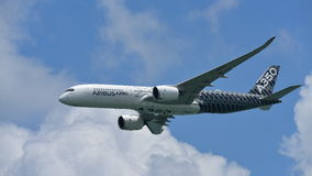 Airbus A350-900 on aerial display at Singapore Airshow Stock Photo