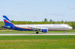 Airbus a321 Aeroflot, airport Pulkovo, Russia Saint-Petersburg May 2017. Stock Photos