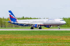 Airbus a321 Aeroflot, airport Pulkovo, Russia Saint-Petersburg May 2017. Stock Images