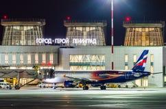 Airbus a321 Aeroflot, Flughafen Pulkovo, Russland St Petersburg am 20. April 2017 Lizenzfreies Stockfoto