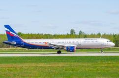 Airbus a321 Aeroflot, Flughafen Pulkovo, Russland St Petersburg im Mai 2017 Stockfotos