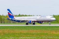Airbus a321 Aeroflot, Flughafen Pulkovo, Russland St Petersburg im Mai 2017 Stockbilder