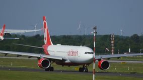 Airbus A330 of Air Berlin taxiing before departure stock video