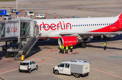 Airbus A320-214 of Air Berlin at the Zurich Airport Royalty Free Stock Photo