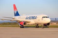 Airbus A320 Air Serbia. Stuttgart/Germany March 10, 2017: Airbus A320 Air Serbia s at Stuttgart Airport stock photos