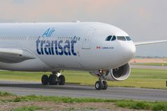 Airbus A330 aircraft. A Air transat Airbus A330 aircraft taxiing for departure at Manchester airport Stock Photography