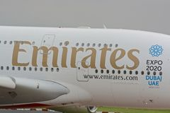Airbus A380 aircraft. Close up view of a Airbus Emirates A380 aircraft logo / brand, at Manchester airport, UK Stock Photo