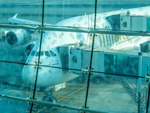 Airbus A380 aircraft in Dubai airport Royalty Free Stock Photo