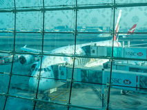Airbus A380 aircraft in Dubai airport Stock Image