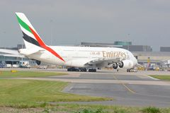 Airbus A380 aircraft. Airbus Emirates A380 aircraft taxying for departure at Manchester airport, UK Stock Images