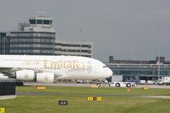 Airbus A380 aircraft. Airbus Emirates A380 aircraft taxying for departure at manchester airport, UK Stock Image