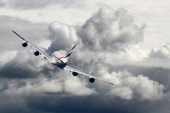 Airbus A380 on sky stock photo