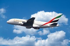 Airbus A380 on sky stock images