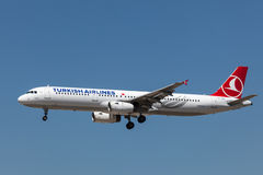 Airbus A321 aircraft of Turkish Airlines Stock Images