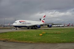 An Airbus A380 airplane from British Airways (BA) Royalty Free Stock Photos