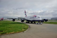 An Airbus A380 airplane from British Airways (BA) Stock Photo