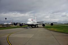 An Airbus A380 airplane from British Airways (BA) Royalty Free Stock Photography