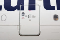 Airbus A380 airplane door Royalty Free Stock Images