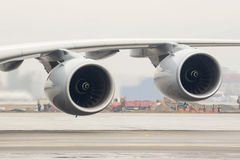 Airbus A380 airplane engines wing Royalty Free Stock Image