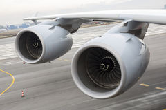 Airbus A380 airplane engines wing Stock Photography