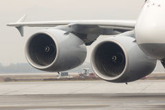 Airbus A380 airplane engines Stock Images